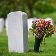 Blank tombstone protruding from grass, next to pink flowers in black vase