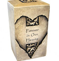 "Stone Urn - Heart shaped design, text reading ""Forever in Our Hearts"""