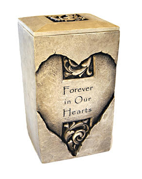 """Stone Urn - Heart shaped design, text reading """"Forever in Our Hearts"""""""