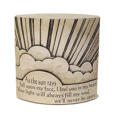 "Round shaped Urn - Text reads ""As the sun rays fall upon my face, I feel you in my heart. Your light will always fill my soul, we'll never be apart"""